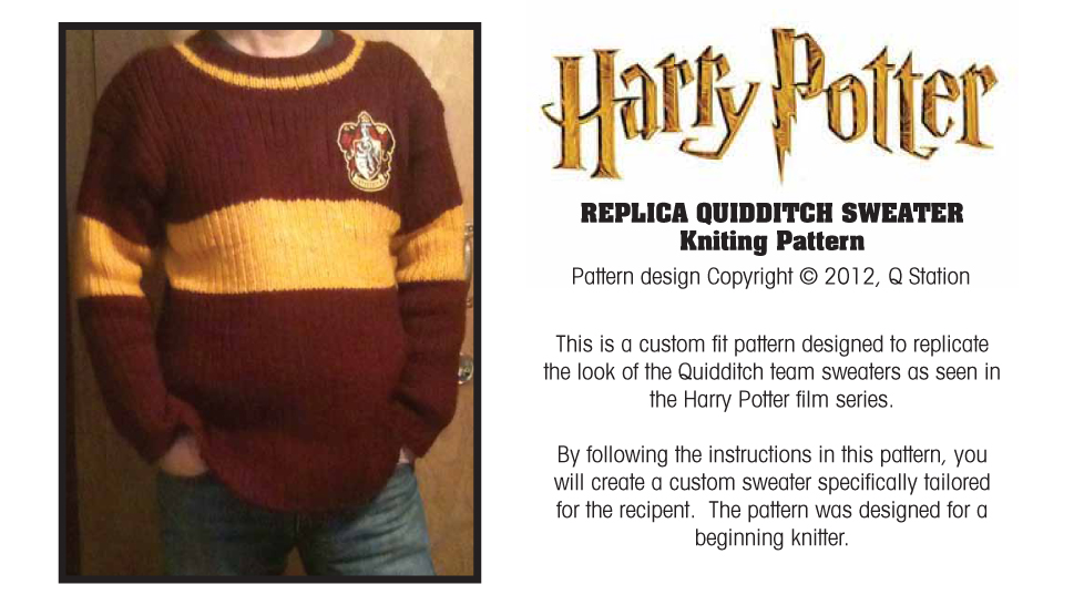 Harry Potter Replica Quidditch Sweater Knitting Pattern
